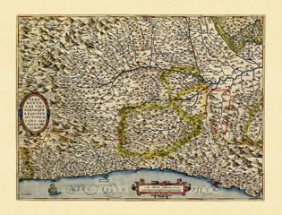 Old detailed map of Piedmont, Italy. Excellent state of preservation realized in ancient style. All the graphic composition is inside a frame. By Ortelius, Theatrum Orbis Terrarum, Antwerp, 1570