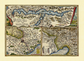 Old Maps. Three detailed views of lake Como, Rome surroundings and Friuli. All in one graphic composition frames suddivided. By Ortelius, Theatrum Orbis Terrarum, Antwerp, 1570