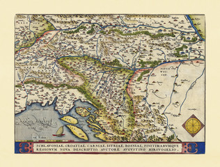 Old map of Slovenia. Excellent state of preservation realized in ancient style. All the graphic composition is inside a frame. By Ortelius, Theatrum Orbis Terrarum, Antwerp, 1570