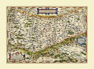 Old map of Transilvania. Excellent state of preservation realized in ancient style. All the graphic composition is inside a frame. By Ortelius, Theatrum Orbis Terrarum, Antwerp, 1570