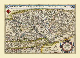 Old map of Hungary. Excellent state of preservation realized in ancient style. All the graphic composition is inside a frame. By Ortelius, Theatrum Orbis Terrarum, Antwerp, 1570