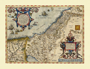Old map of Palestina. Excellent state of preservation realized in ancient style. All the graphic composition is inside a frame. By Ortelius, Theatrum Orbis Terrarum, Antwerp, 1570