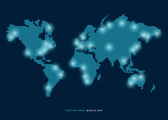 Vector pixel world map with glowing points.