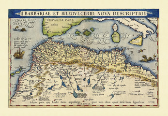 Old map of North Africa. Excellent state of preservation realized in ancient style. All the graphic composition is inside a frame. By Ortelius, Theatrum Orbis Terrarum, Antwerp, 1570