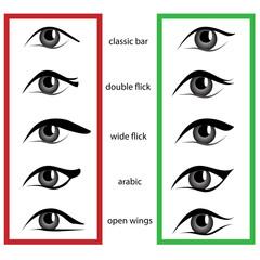 Set of different eyeliner shape