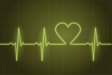 Vector illustration of heart pulse in green.