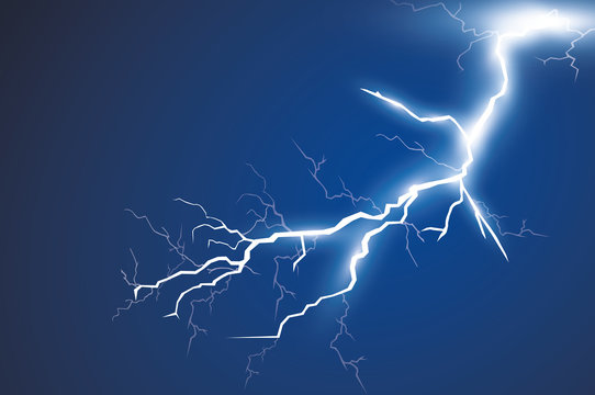 Lightning and thunder bolt, glow and sparkle effect, vector art and illustration.