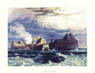 Sulphur Island (Iwo Jima) in the rough sea and boat sailing. Old illustration by W. and R. Havell after Hall, published on 'Account of a Voyage of Discovery to the West Coast of Corea', London, 1818