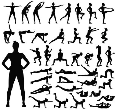 Big set of black silhouettes of woman doing fitness workout.