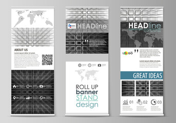 Roll up banner stands, flat design templates, geometric style, corporate vertical vector flyers, flag layouts. Abstract infinity background, 3d structure with rectangles forming illusion of depth.