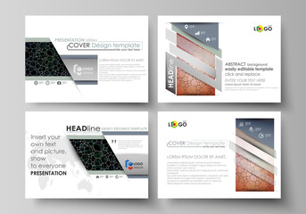 Business templates for presentation slides. Abstract vector layouts in flat design. Chemistry pattern, molecular texture, polygonal molecule structure, cell. Medicine, science, microbiology concept.