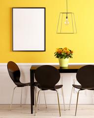 Schwarzer Tisch mit Lampe und Bilderrahmen