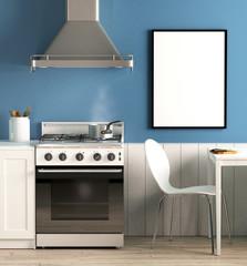 Küche mit blauer Wand und Tisch