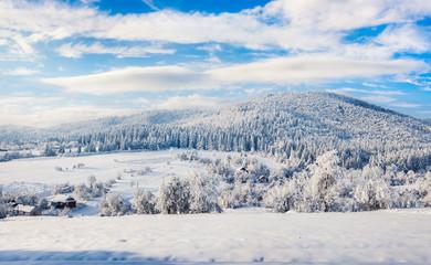Sunny winter morning in Carpathian village.