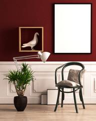 Stuhl mit Kissen und Pflanze, Bilderrahmen vor rotbrauner Wand