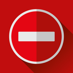 Warning, stop sign icon in flat style, vector design danger illustration for you project