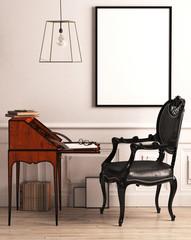 Schreibsekretär vor Bilderrahmen mit schwarzem Stuhl