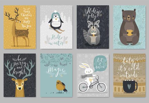 Christmas animals card set, hand drawn style..