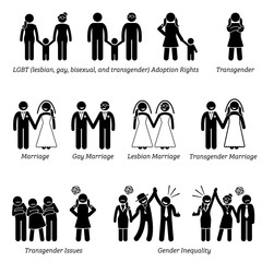 Sex Equality Sexism Social Problems Stick Figure Pictogram Icons. Illustrations depicts LGBT, lesbian, gay, bisexual, and transgender issues of adoption rights, marriage, and gender inequality.