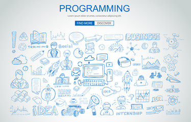 Programming concept with Business Doodle design style: online resources, coding skills