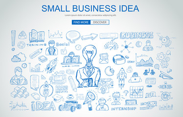 Small Business Idea concept with Business Doodle design style: online study