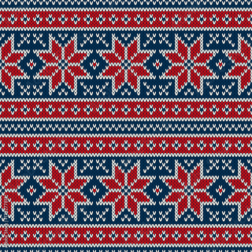 5ec6b0063f64ee Winter Holiday Seamless Knitting Pattern with Snowflakes. Fair Isle Knitted  Sweater Design. Christmas Seamless Background