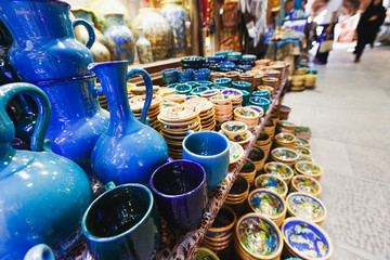 traditional iranian souvenirs in market (Bazaar) in Isfahan, Iran. Bazaar of Isfahan is the most important tourist attraction.