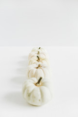 White pumpkins on white background. Autumn pale style concept. Flat lay, top view.