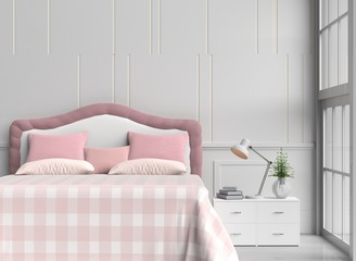 White bed room decorated with tree in glass vase, pink&orange pillows, white wood bedside table,table light orange blanket, Window, Lamp, Book, White wall it is pattern, white floor. 3d rendering.