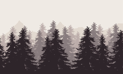 Vector illustration of a landscape with forest and mountains with fog in the background