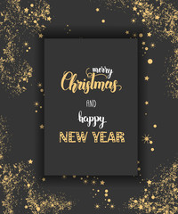"""Vector poster with hand drawn Christmas hand made quote """"Merry Christmas and Happy New Year"""" and golden glitter on black. Lettering. Banner, poster, flyer, brochure."""