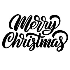 Merry Christmas black ink brush hand lettering isolated on white background. Vector illustration. Can be used for holidays festive design.