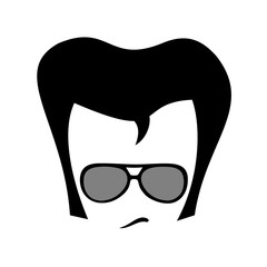 Charming and cool man with retro fashionable sunglasses, haircut and hairstyle. Oldstyle fashion. Vector illustration