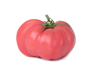 pink beef tomato on a white background