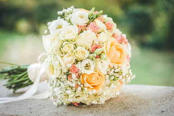 Beautiful wedding bouquet. Outdoor photo