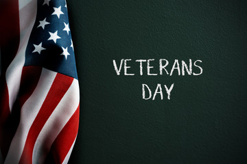 text veterans day and american flag