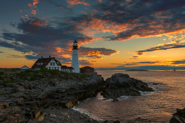 Portland Lighthouse at sunrise, Cape Elizabeth, Maine, USA.