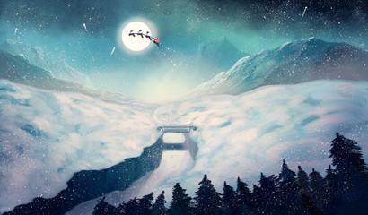 Magic winter illustration. Digital painting.