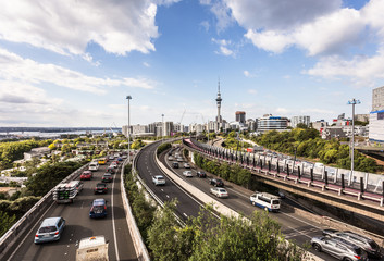 Canvas Prints New Zealand Traffic jam on Auckland highways in New Zealand