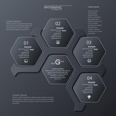 Abstract 3D dark Paper Infographics