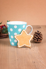 Christmas cookies with decoration / Still life with decorated Christmas cookies on a wooden background
