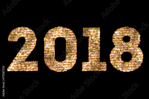 vintage yellow gold sparkly glitter lights and glowing effect simulating leds happy new year 2018 word