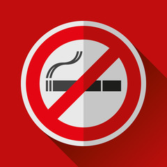 No smoking sign icon in flat style. Stop cigarette symbol. Vector design danger illustration for you project