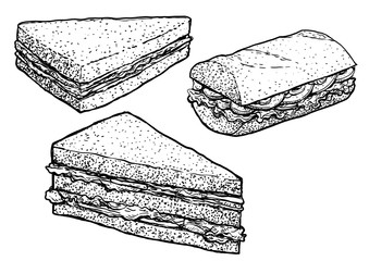 Sandwich illustration, drawing, engraving, ink, line art, vector