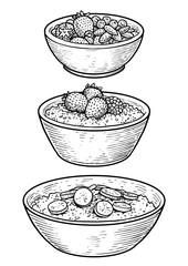Oatmeal illustration, drawing, engraving, ink, line art, vector