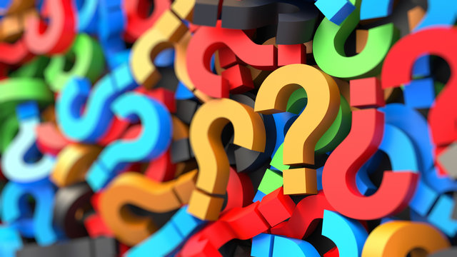 Colorful question marks on blurred background. 3D Rendering.
