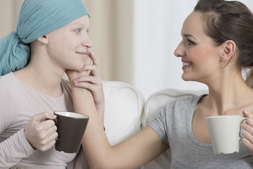 Smiling woman during chemotherapy