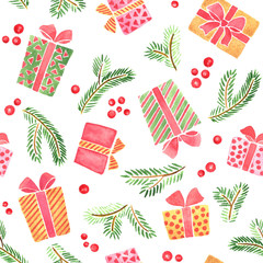 Seamless watercolor pattern for Christmas and New Year. Gift boxes and branches of fir tree