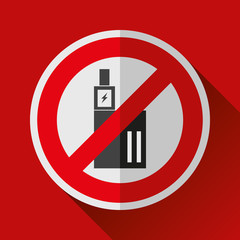 No smoking vape sign icon in flat style. Stop electronic cigarette symbol. Vector design danger illustration for you project