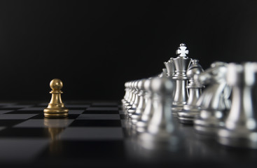 Chess (pawn confront opponent or competitor) on black background. Strategy, market share, business investment, business competition, opportunity, brave, fearless, dare, fight or front line concept.